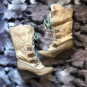 Fur Lined Platform Wedge Heel Boots European Cream